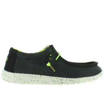 ONETOW Hey Dude Wally L Sox Funk - Black/Lemon Textile Athleisure Wallabee