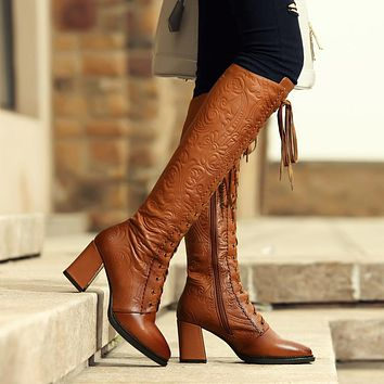 Brown Leather Lace Up High Boots