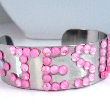 Pink Rhinestone Cuff Bracelet As Christian Jewelry for Women