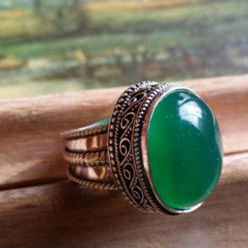 "Australian Jade Ring Cabochon Ring  Antiquated Ring Statement Ring Gemstone Ring Chrysoprase Ring Size 9 Ring Chalcedony Ring ""2015 SALE"""