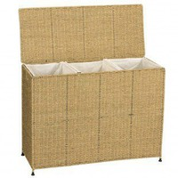 Household Essentials Seagrass KD Triple Sorter with Removable Bags - ML-6445 - Bed & Bath