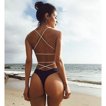 Sexy Women Stylish Pure Color Low Chest Backless Bandage One Piece Bikini Swimsuit Bathing(4-Color) Red I13745-1