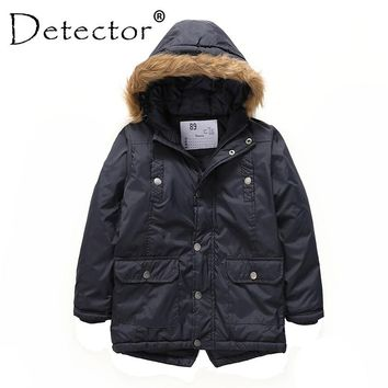 Detector Boys' Parka Jackets Hooded Warmly Children Cotton Coats Boy Winter Fur Coat Boys Kids Hiking Jacket Clothes Outerwear