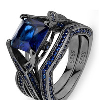 Black Sterling Silver Princess Cut CZ Solitaire Cocktail Ring Set Sapphire Color Wedding Gift Set