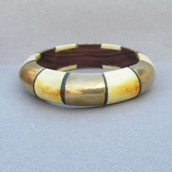 Big Chunky 1970's Vintage Bone, Wood, & Brass Indie Bangle Bracelet