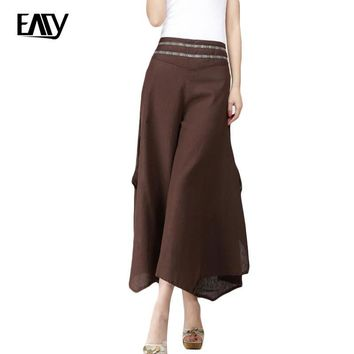 summer style high waisted trousers for women spring pants cotton and linen for lady baroque print wide leg bottoms female capris