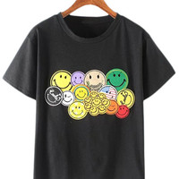 Black Smiley Face Embroidery T-shirt