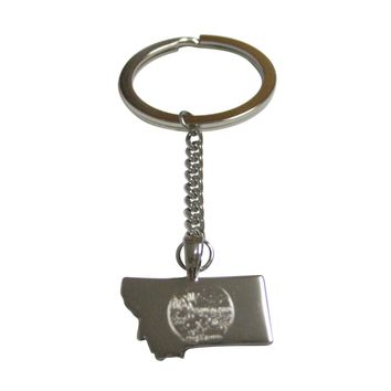 Montana State Map Shape and Flag Design Pendant Keychain