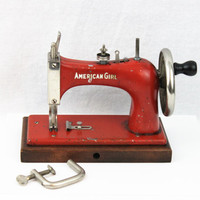Vintage Red 1950s American Girl Sewing Machine, Toy Sewing Machine, Home Decor