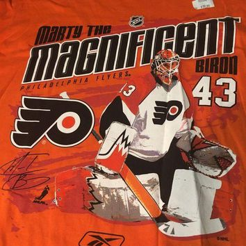 CUPUPI8 BRAND NEW RETRO PHILADELPHIA FLYERS MARTY BIRON MARTY THE MAGNIFICENT TEE SHIRT