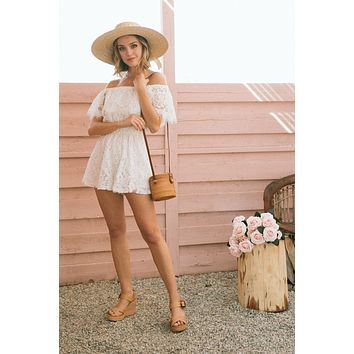 Jordyn Off the Shoulder Lace Romper