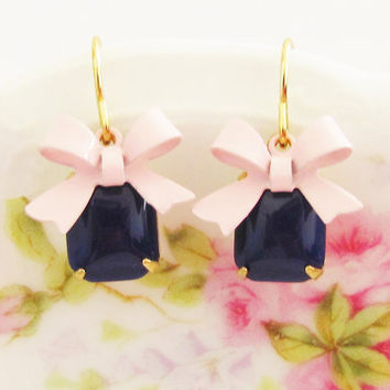 Vintage Navy Blue Jewel and Pink Enamel Bow Dangle Earrings
