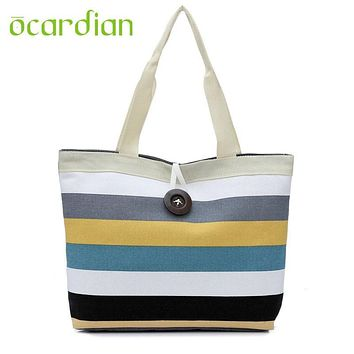 Women Shopping Handbag Colored stripes Elegent Lady Canvas Bag Tote Purse drop Shipping Fashion Hot New Bolsa Bolso 17Apr28