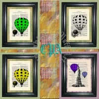 Hot Air Balloons Art - 4 Print Special -- Vintage Dictionary Book Page Art - Upcycled Page Art - Collage Wall Art - Mixed Media Art