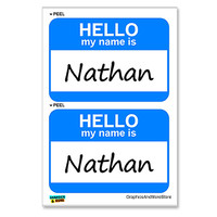 Nathan Hello My Name Is - Sheet of 2 Stickers