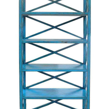 Rustic Blue Color Solid Wood Display Cabinet Book Shelf JZ416S