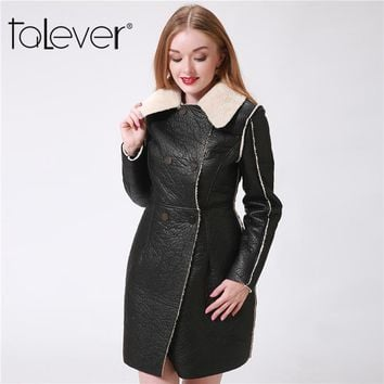 Winter Faux Leather Warm Long Trench Coat Patchwork Women Cashmere Black Long Coat With Fur Collar Female Outwear Plus Size