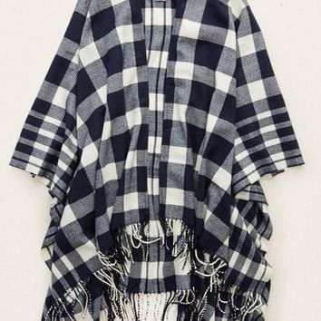 Aerie Women's Plaid Cape (Navy)
