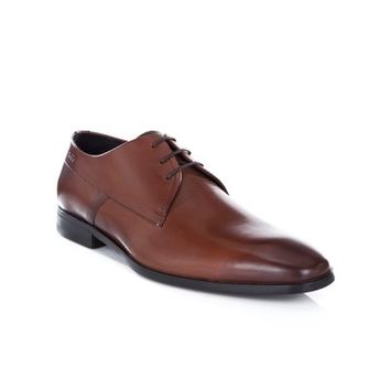 Hugo by Hugo Boss Tan Square Toed Derby Shoes