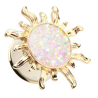 Golden Colored Blazing Sun Opalescent Glitter Ear Gauge Plug