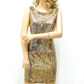 Gold sequin dress / size M 7 / 8 / 80s gold sequined party dress / cocktail / evening shiny gold dress / SunnyBohoVintage