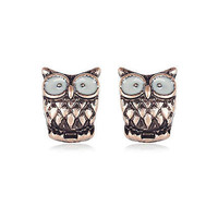 Rose gold tone owl stud earrings