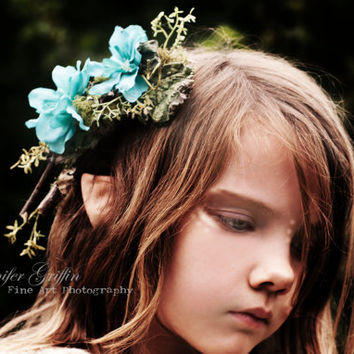 Aqua Blue, Turquoise Woodland Flower Head Piece- For Woodland Weddings, Fairy Costumes, Elf Costumes, Wood Nymphs