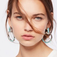 Free People Stoned Farrah Knocker Hoops