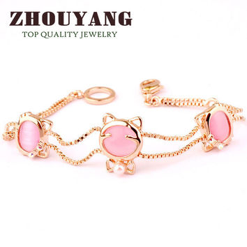 Cute Pink Cat 18K Rose Gold Plated Bracelet Jewelry   Austrian Crystals