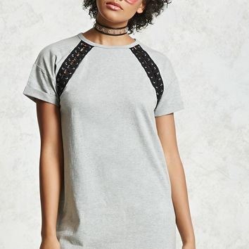 Double Lace-Up T-Shirt Dress