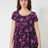 Large Floral Printed Rayon Babydoll Dress