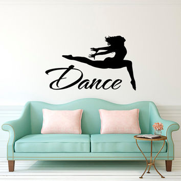 Dance Wall Decal- Wall Decal Quote Dance- Jumping Dancer Wall Decal Stickers Dance Studio Decor- Girls Gymnastics Wall Art Sports Decor Q268