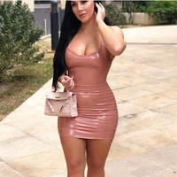 Colysmo Summer Dress 2019 Red Elastic PU Leather Dress Backless Women Party Bodycon Dress Sexy Club Wear Robe Femme Neon Dresses