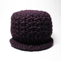Purple Chunky Newsboy Hat, Crochet Beanie, Wool Cap With Brim, Women's Winter Accessory