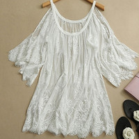 Hot Vintage Hippie Boho Off Shoulder Embroidery Floral Lace Crochet Mini Party Tops Dress Black White = 1920105668