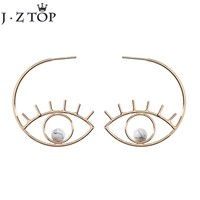 JZTOP Exaggerated Hollow Gold Color Eye Eyelashes Stud Earrings Marble Stone Beads Eye Earrings for Women Party Jewelry Brinco