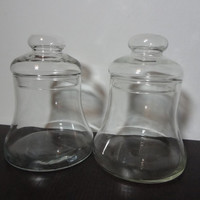 Vintage Clear Glass Bell Jars - Set of 2 Glass Canisters/Apothecary/Storage Jars