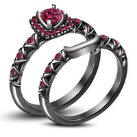 Pink Sapphire Black Gold Finish in 925 Silver Bridal / Engagement Ring Set
