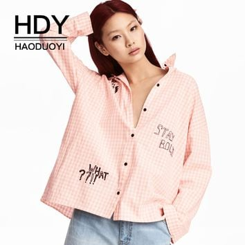 Woman Daily Casual Shirt Pink Plaid Turn-Down Collar Shirt Casual Front Button Letter Embroidered Shirt