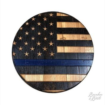 Handcrafted Stars & Stripes Thin Blue Line Bourbon Barrel Head