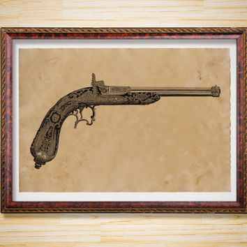 Antique pistol print Vintage decor Weapon poster