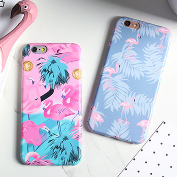 Luxury IMD Cartoon Flamingo Case For iphone 7 Case For iphone7 6 6S PLus Phone Cases Lovely Ostrich Colorful Leaf Back Cover -0316