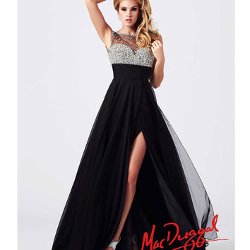 Mac Duggal 2014 Prom Dresses - Black Illusion Bodice & Empire Waist Prom Gown