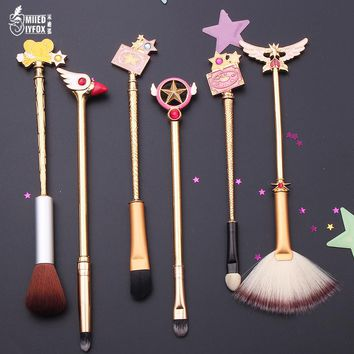 New design Sakura/Sailor moon style jewelry Makeup cosmetic brush moon/feathered wings/crystal/magic wand Women's gift