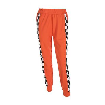 Women 2017 Women Casual Checkerboard Zipper Sweatpants Side Trousers Plaid Patchwork Orange Femme Pencil Pants Pantalon