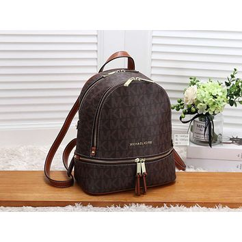 MK Women Casual School Bag Cowhide Leather Backpack