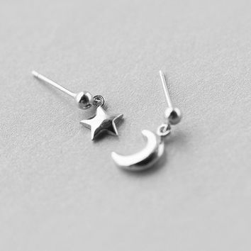 Silver Moon & Star Earrings, Sterling Silver Moon Earrings, Star stud earrings,Moon stud earrings,moon jewelry,star jewelry,gift for her