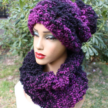 Purple Knit Cowl  Purple Scarf Wool  Cowl Knit Scarf Beanie Set Tie Dye Wool Cowl Express Shipping