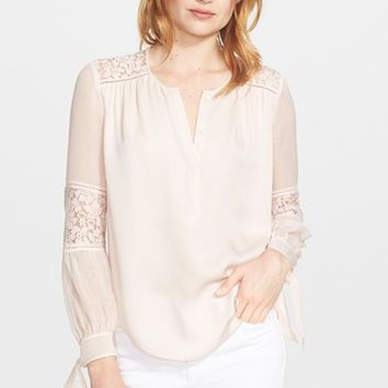 Women's Rebecca Taylor Long Sleeve Silk and Lace Blouse,
