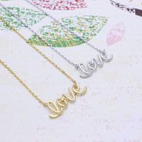 LOVE  necklace in  silver or gold tone